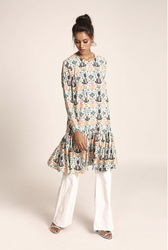 PS-TUA0043 Cream Printed Art Crepe Tunic