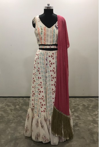 PS-FW620-C-2 Cream Printed Crepe Choli with Cream Printed Crepe and Georgette Lehenga and Cranberry Mukaish Georgette Dupatta