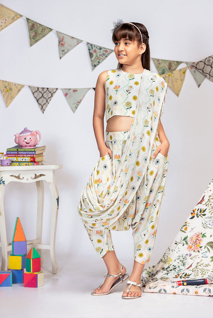 PS-KG0010 Cream Printed Crepe Crop Top with Low Crotch Pant and Attached Georgette Drape