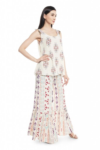 PS-ST1465-A  Cream Printed Crepe Kurta with Frill Palazzo