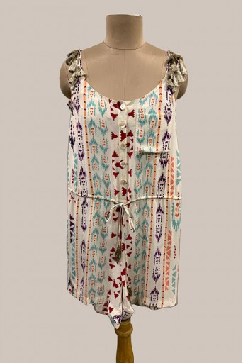 PS-JS0004-1 Cream Printed Crepe Romper