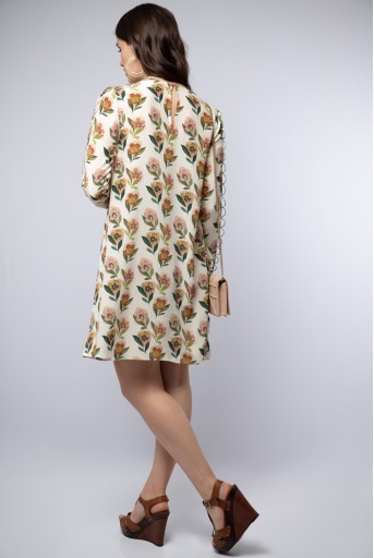 PS-TU0993 Cream Printed Crepe Side Cowl Drape Tunic