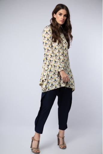 PS-TU0998 Cream Printed Crepe Side Cowl Tunic