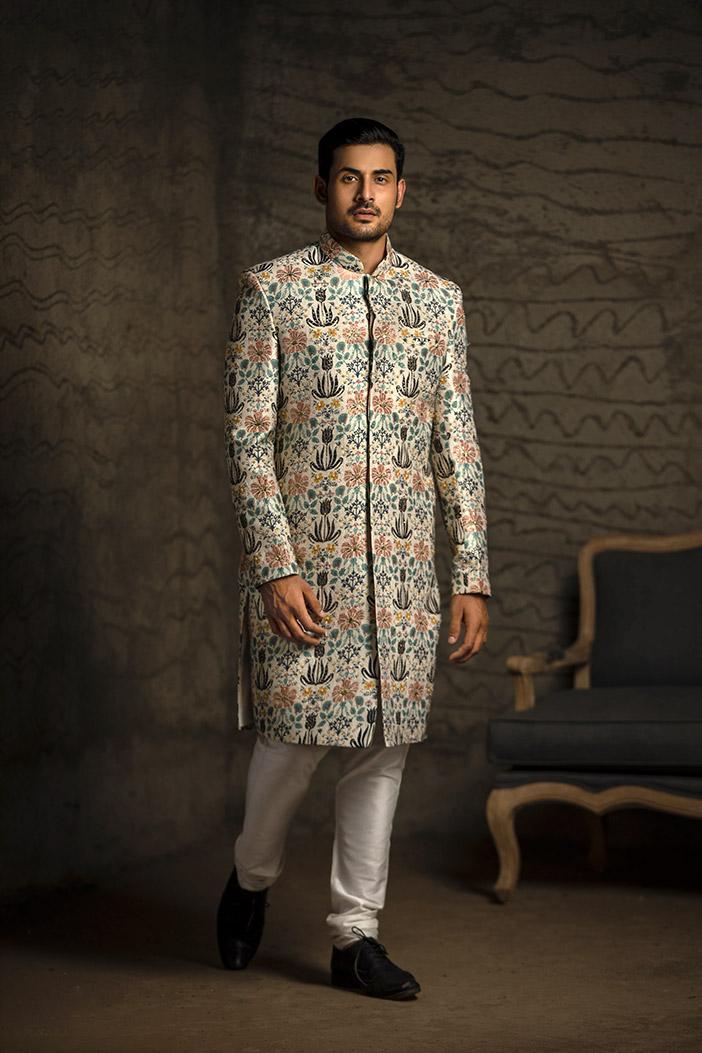 PS-MN083 Cream Printed Dupion Silk Sherwani with Off White Cotton Silk Churidar