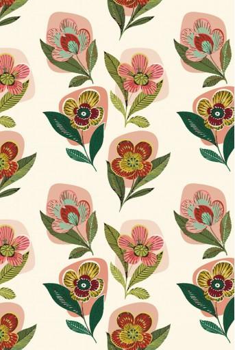 PYS-300931 Cream Retro Flower print art silkmul scarf