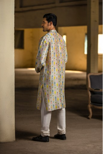 PS-MN077 Cream Printed Silk Kurta with Off White Cotton Silk Churidar