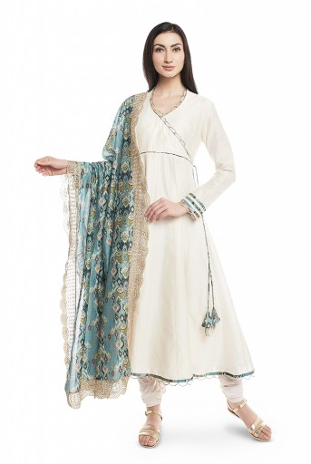 PS-AK0001-B  Cream Silkmul Overlap Anarkali with Soft Net Churidar and Blue Printed Silkmul Dupatta