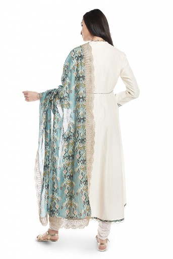 PS-AK0001-B-1  Cream Silkmul Overlap Anarkali with Soft Net Churidar and Blue Printed Silkmul Dupatta
