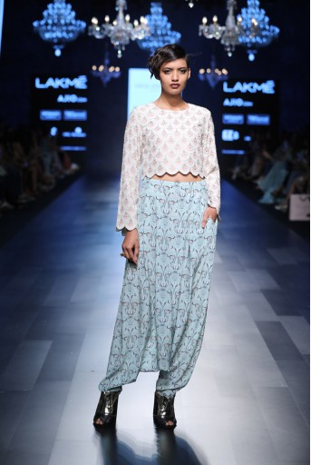 PS-FW437 Dara Blush Printed Crepe Crop Top with Aqua Printed Crepe Low Crotch Pant