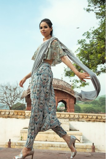 PS-FW547 Darisa Mint Printed Crepe Off Shoulder Ruffle Choli with Powder Blue Printed Low Crotch pant and Mukaish Georgette attached Dupatta