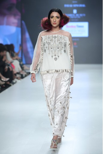 PS-FW688 Dilnaz Chalk White Georgette and Organza Top with Velvet Low Crotch Pant
