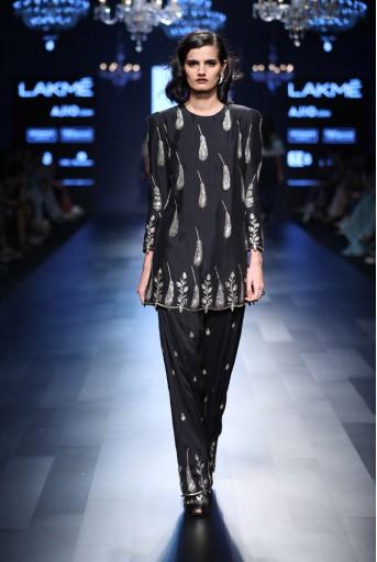 PS-FW426 Dina Black Silk Kurta with Salwar
