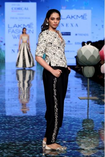 PS-FW724 Dinaz Chalk White Jacket with Black Low Crotch Pant