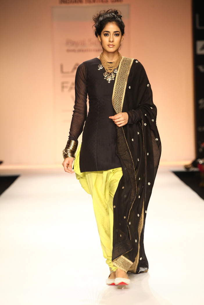 PS-FW179 Diva Black Silkmul Kurta with Lime Green Cotton Silk Jodhpur Pant and Black Dupatta