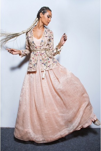 PS-FW582 Diyora Blush Georgette Jacket with Chanderi Stripe Lehenga and Bustier