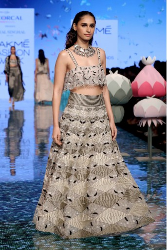 PS-FW700-1  Dusky Rose Colour Organza Ruffle Choli with Lehenga