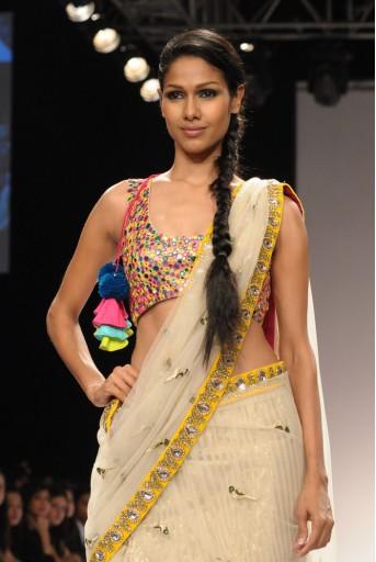 PS-FW155 Ecru Tulle Kali Saree with Multicolour Choli