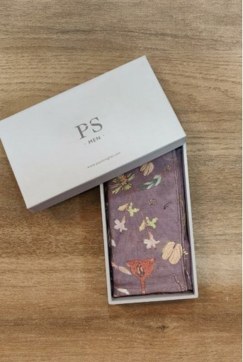 PS-PS124  Eggplant colour printed silkmul pocket square