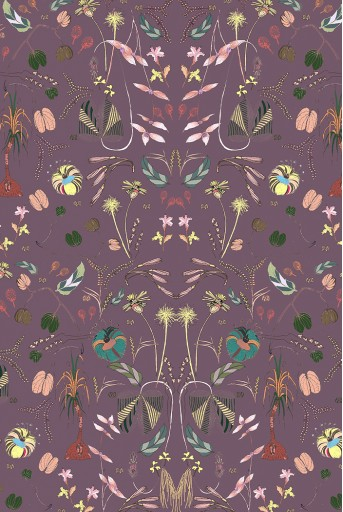 PS-SC0042 Eggplant Forest print silkmul scarf with peach silkmul piping
