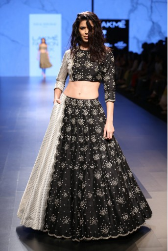 PS-FW414 Elaheh Partial Black Dupion Silk and partial Ivory Brocade silk Choli and Lehenga