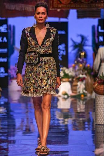 PS-FW656 Eli Black Georgette Coat Dress