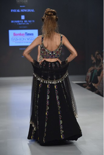 PS-FW657C Ema Black Georgette Choli and Lehenga with Net Dupatta