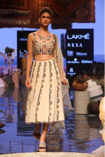 PS-FW657 Ema Stone Georgette Bustier and Cropped Lehenga with Net Dupatta