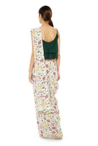 PS-ST1207-CC  Emerald Green Colour Crepe Two Layer Top with Cream Printed Georgette Saree