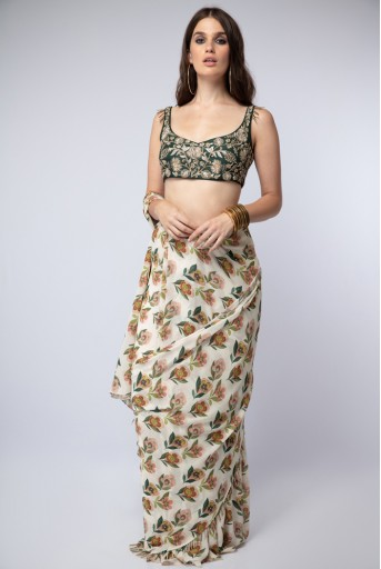 PS-ST1213 Emerald Green Silk Choli with Cream Printed Crepe Saree
