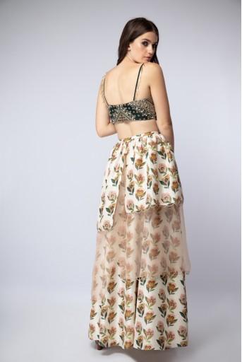 PS-ST1205 Emerald Green Silk Choli with Cream Printed Silk Asymmetrical Skirt and Blush Net Dupatta