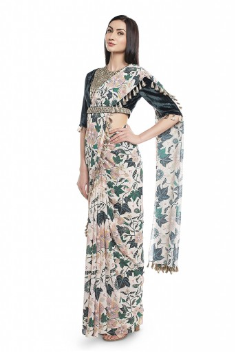 PS-FW640-A  Emerald Green Velvet Choli with White Printed Saree