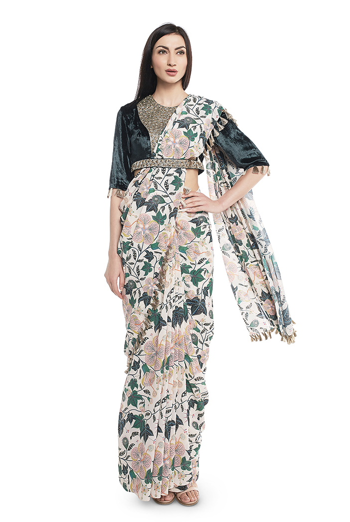 PS-FW640-A-1  Emerald Green Velvet Choli with White Printed Saree
