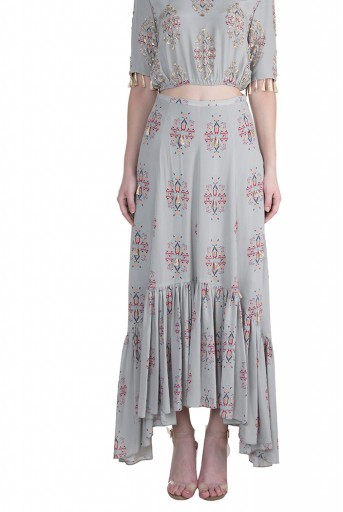 PS-FW615 Eren Grey Printed Crepe Balloon Top with Crepe and Georgette Frill Skirt