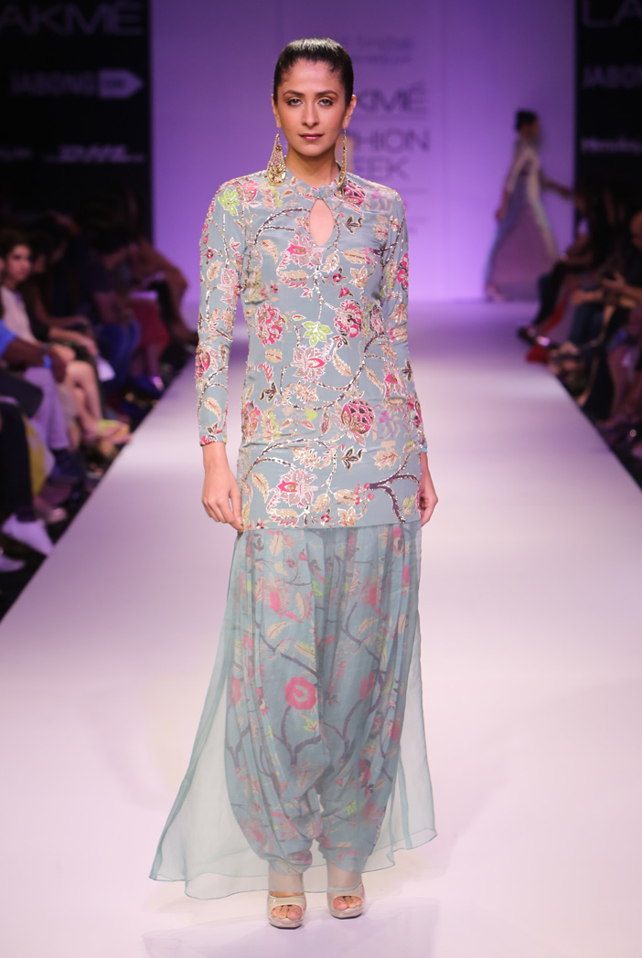 PS-FW268 Esha Chintz Print Crepe Kurta with Organza Hem and Patiala Salwar