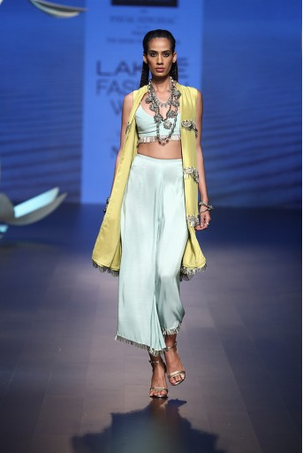 PS-FW523 Esra Lime Green Silk Scallop Jacket with Ice Blue Silk Bustier and Cropped Palazzo