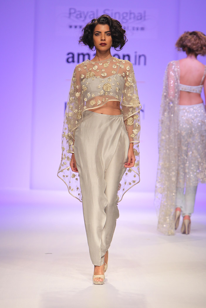PS-FW345 Eve Pale Grey Tulle Cape with Silk Bustier and Low Crotch Overlay Pant
