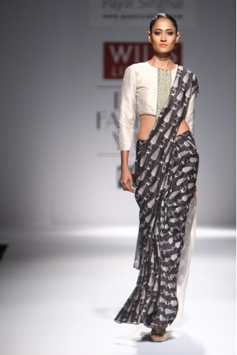 PS-FW294 Farah Stone Dupion Silk and organza Choli with Black Printed Lehenga Saree