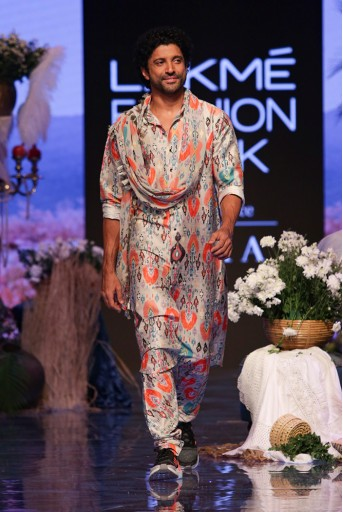 PS-FW674 Farhan Stone printed Dupion Silk Kurta and Churidar with Georgette Dupatta