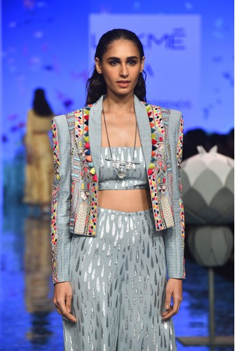 PS-FW721 Farida Pale Blue Jacket with Bustier and Sharara