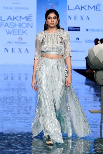 PS-FW702 Farideh Pale Blue Chanderi Stripe Embroidered Top with Tear Drop Georgette Sharara with attached Skirt