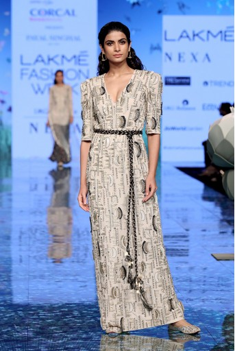 PS-FW703 Farzaneh Stone Georgette Embroidered Gown