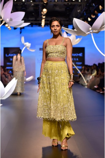 PS-FW534 Feyza Lime Green Silk Choli and Organza Skirt with attached Palazzo