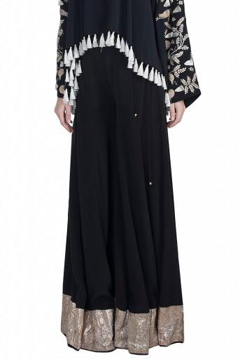PS-FW588 Feza Black Crepe Kaftaan Top with Sharara