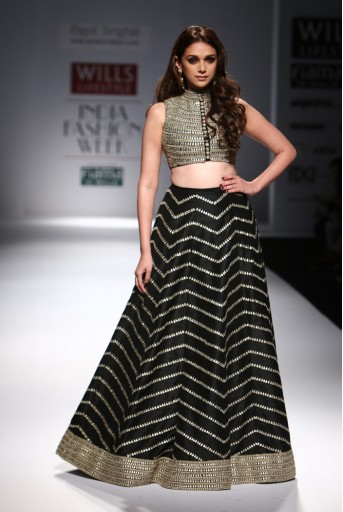 PS-FW302 Firdaus Black Dupion Silk Choli with Lehenga