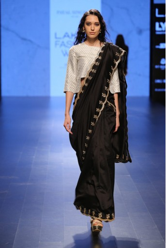 PS-FW413 Firouzeh Black Silkmul Saree with Ivory Brocade Choli