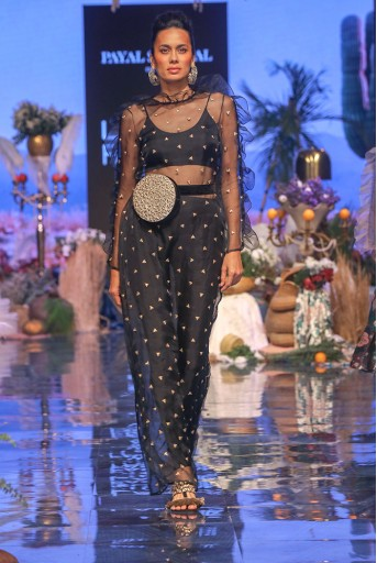 PS-FW636 Freh Black Lycra Bustier and Jogger Pant with Organza Over Kurta