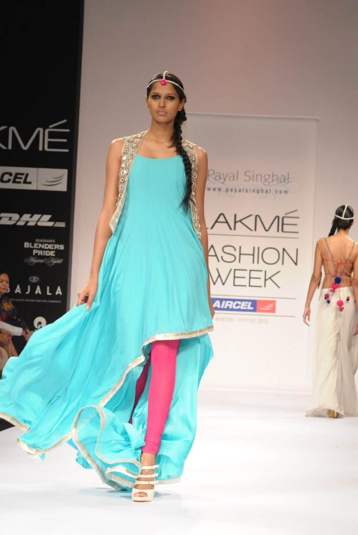 PS-FW152 Fresh Blue Asummetrical Kurta with Mirror work Jacket and Hot Pink churidar