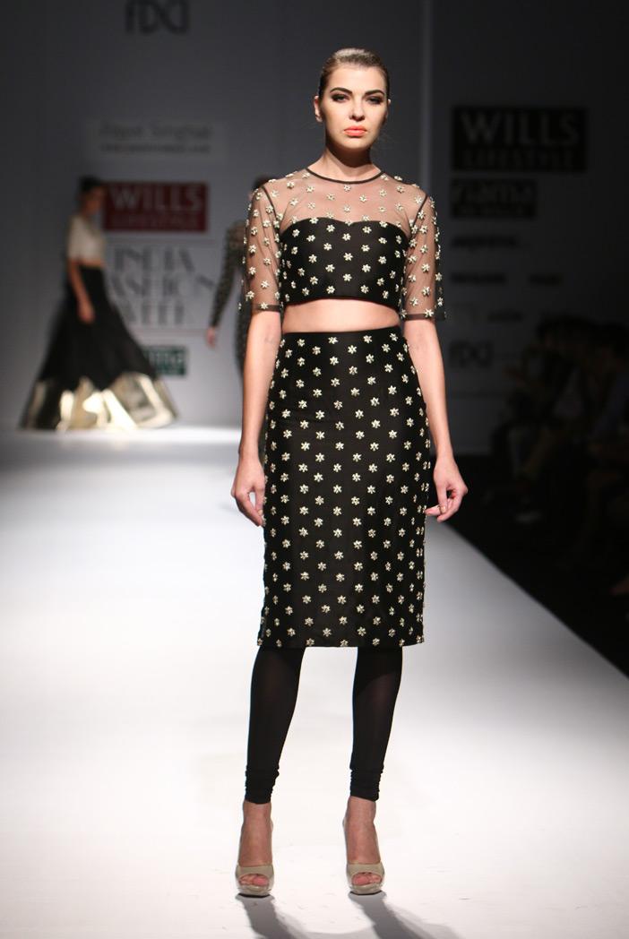 PS-FW300 Freya Black Silkmul Choli with Fitted Churidar Skirt
