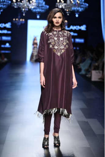PS-FW428 Frieda Purple Silk Oversized Kurta with Soft Net Churidar
