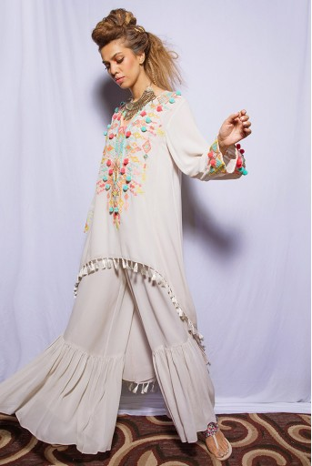 PS-KP0015 Friya Chalk White Georgette Kurta with Frill Palazzo